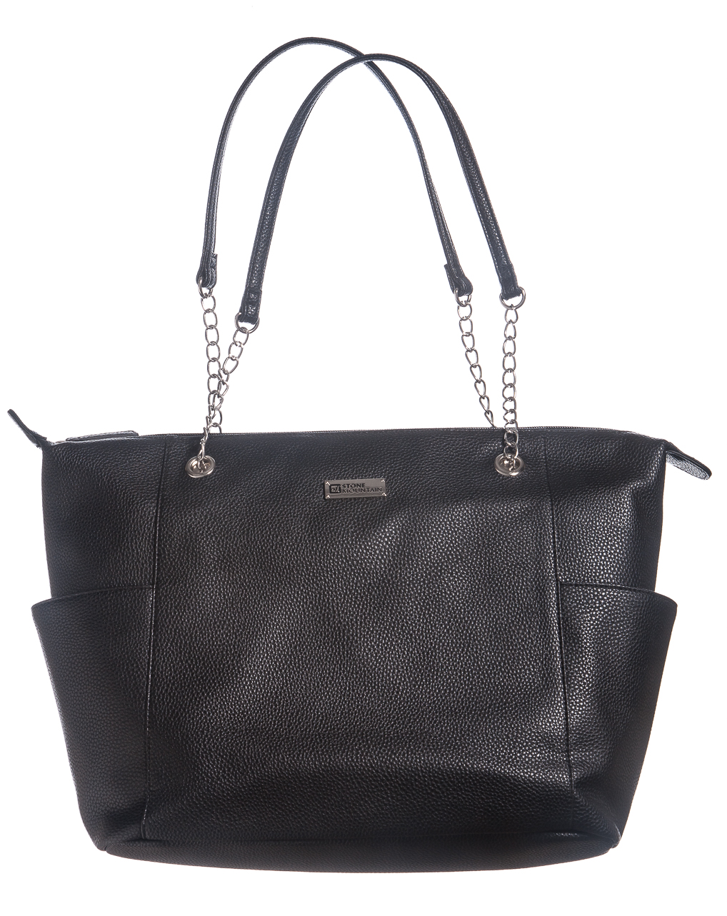 Talia Leather Tote w/ Chain and Phone Charger