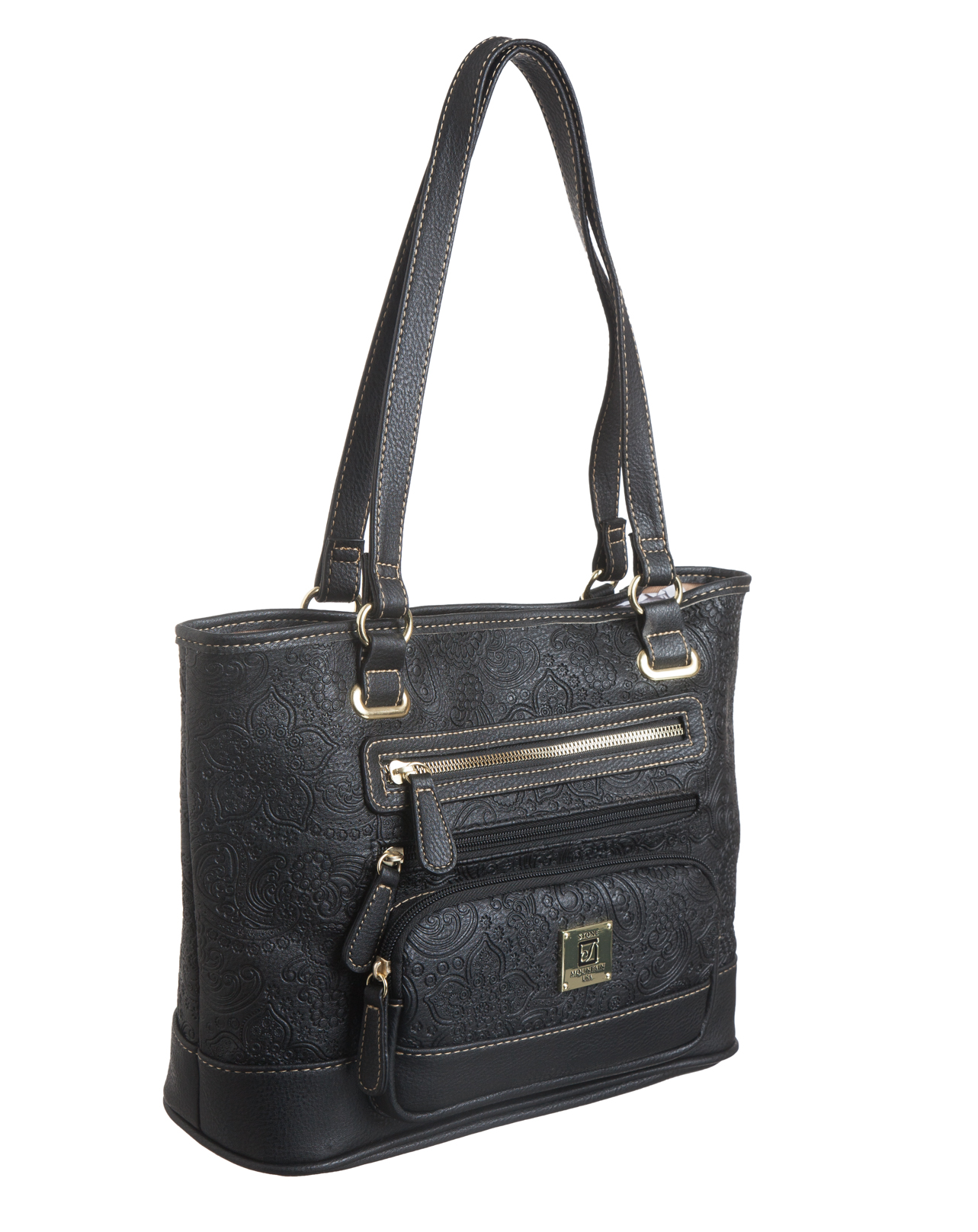 Paisley Embossed Leather E/W Tote