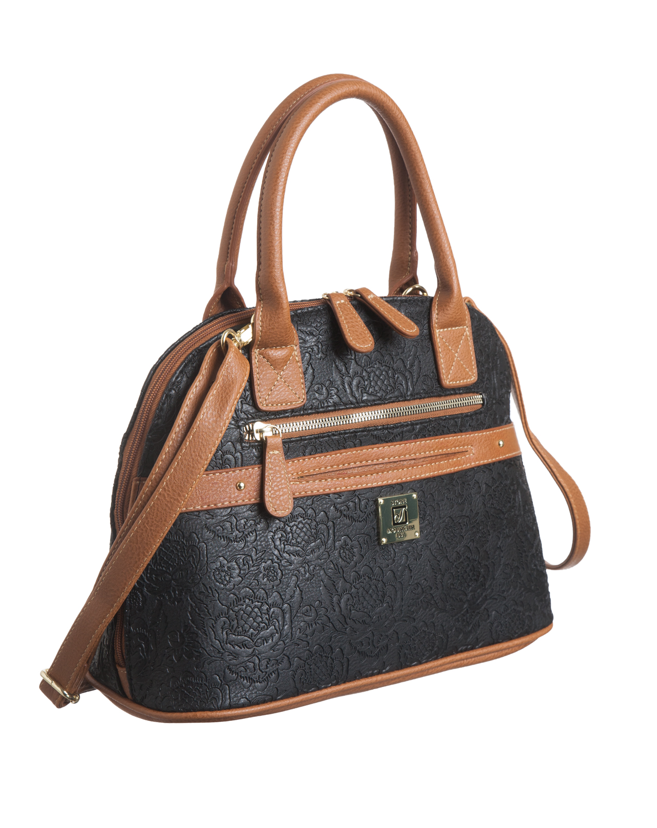 Plug In Emboss Floral Dome Satchel